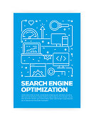 Search Engine Optimization (SEO) Concept Line Style Cover Design for Annual Report, Flyer, Brochure.