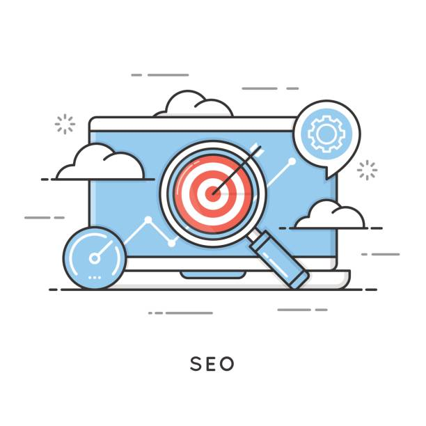 seo, search engine optimization, content marketing, web analytic - seo stock illustrations, clip art, cartoons, & icons