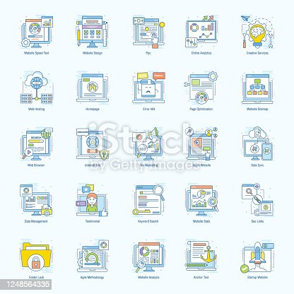 The creative web optimization flat icons set is one of its kind. Each icon in the set is very well designed portraying the very aspect of web technology. It is a must have set to grab.