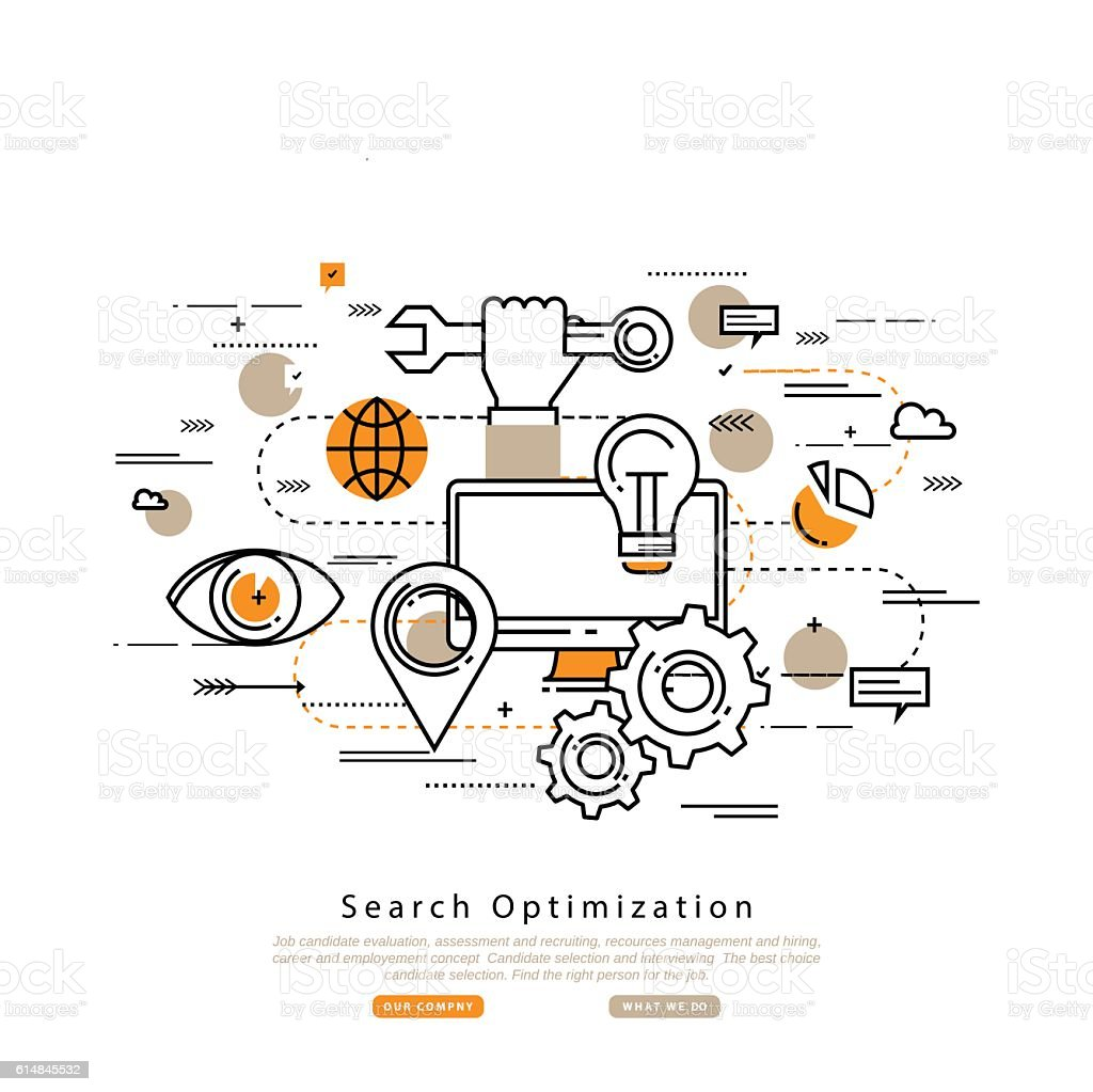 Search engine optimization flat line business vector vector art illustration