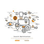 Search engine optimization flat line business vector