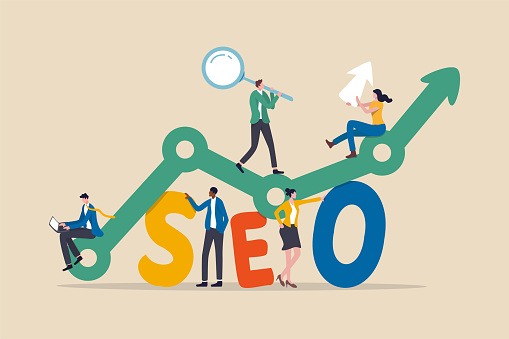 SEO, Search Engine Optimization for website to show in search result page concept, professional people holding magnifying glass, mouse pointer or using laptop sit on analytics graph on the word SEO.