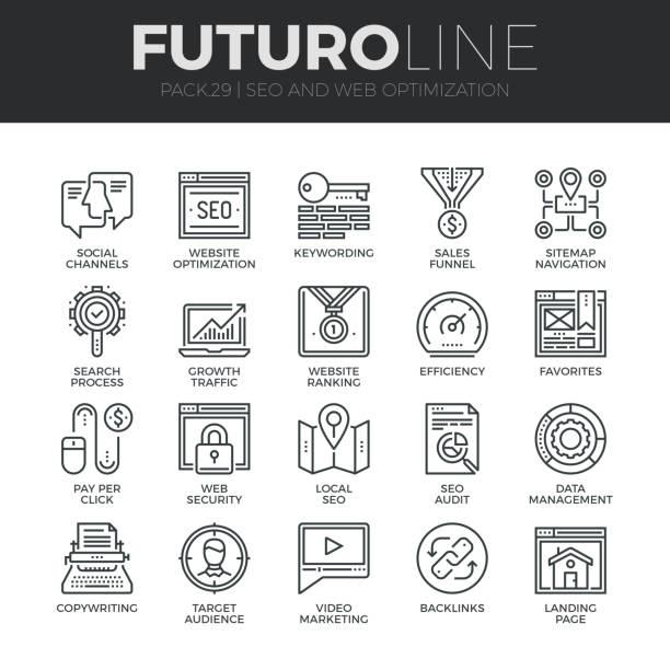 stockillustraties, clipart, cartoons en iconen met search engine optimization futuro lijn icons set - gemak
