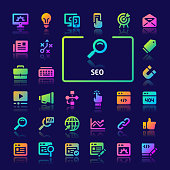 EPS10 gradient vector icons related to search engine optimization ( SEO ). Symbols such as dashboard, statistic, analysis and strategy are included.