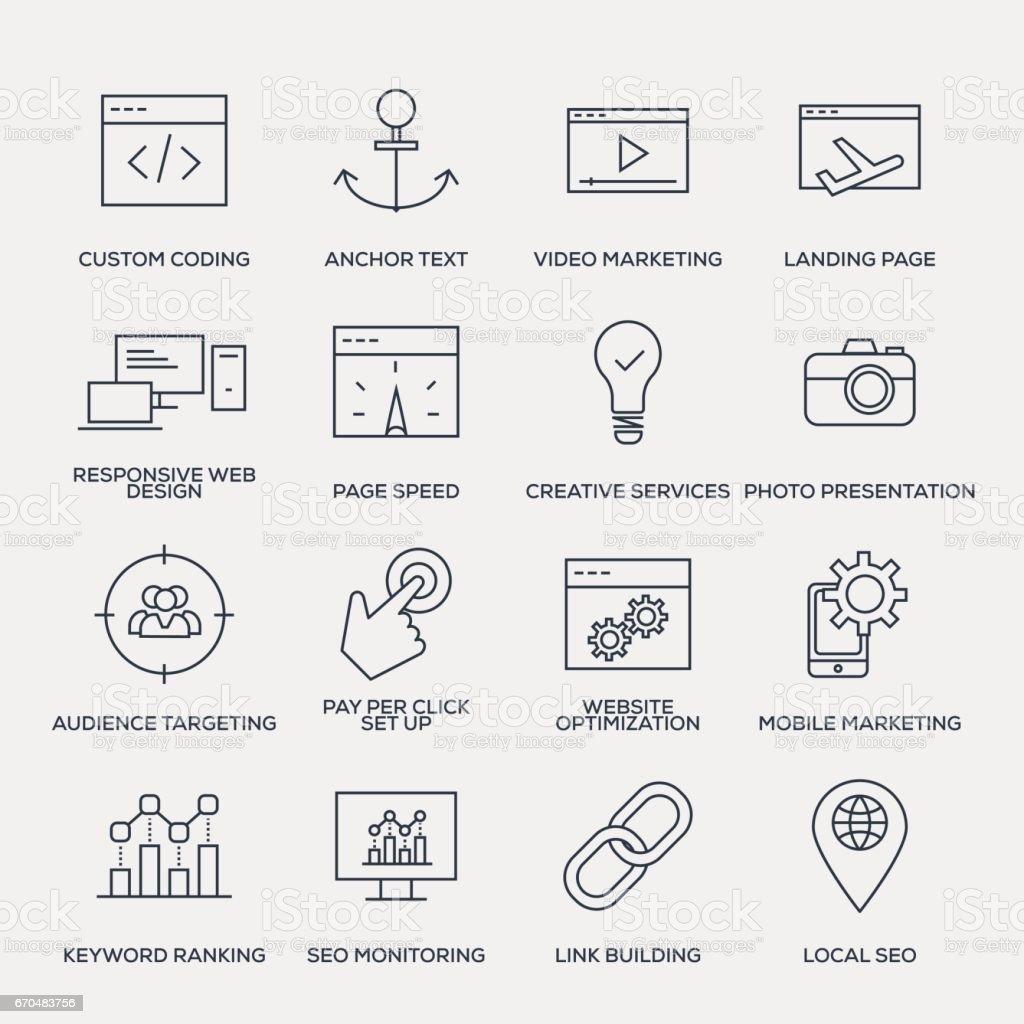 Search Engine Optimization Icon Set - Line Series vector art illustration