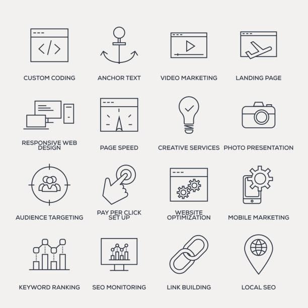 suche engine optimierung-icon-set - line serie - webdesigner grafiken stock-grafiken, -clipart, -cartoons und -symbole