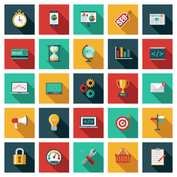 Search Engine Optimization (SEO) Icon Set A set of square flat design icons with a long side shadow. File is built in the CMYK color space for optimal printing. Color swatches are global so it's easy to edit and change the colors. business clipart stock illustrations