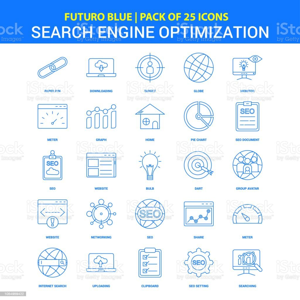 Search Engine Optimization Icons Futuro Blue 25 Icon Pack