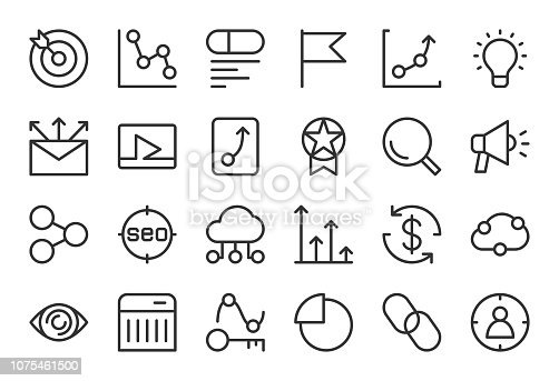 Search Engine Optimization Icons Light Line Series Vector EPS File.