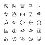 Search Engine Optimization Icons Line Series Vector EPS File.