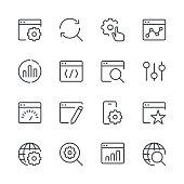 Search Engine Optimization icons set 1 | Black Line series