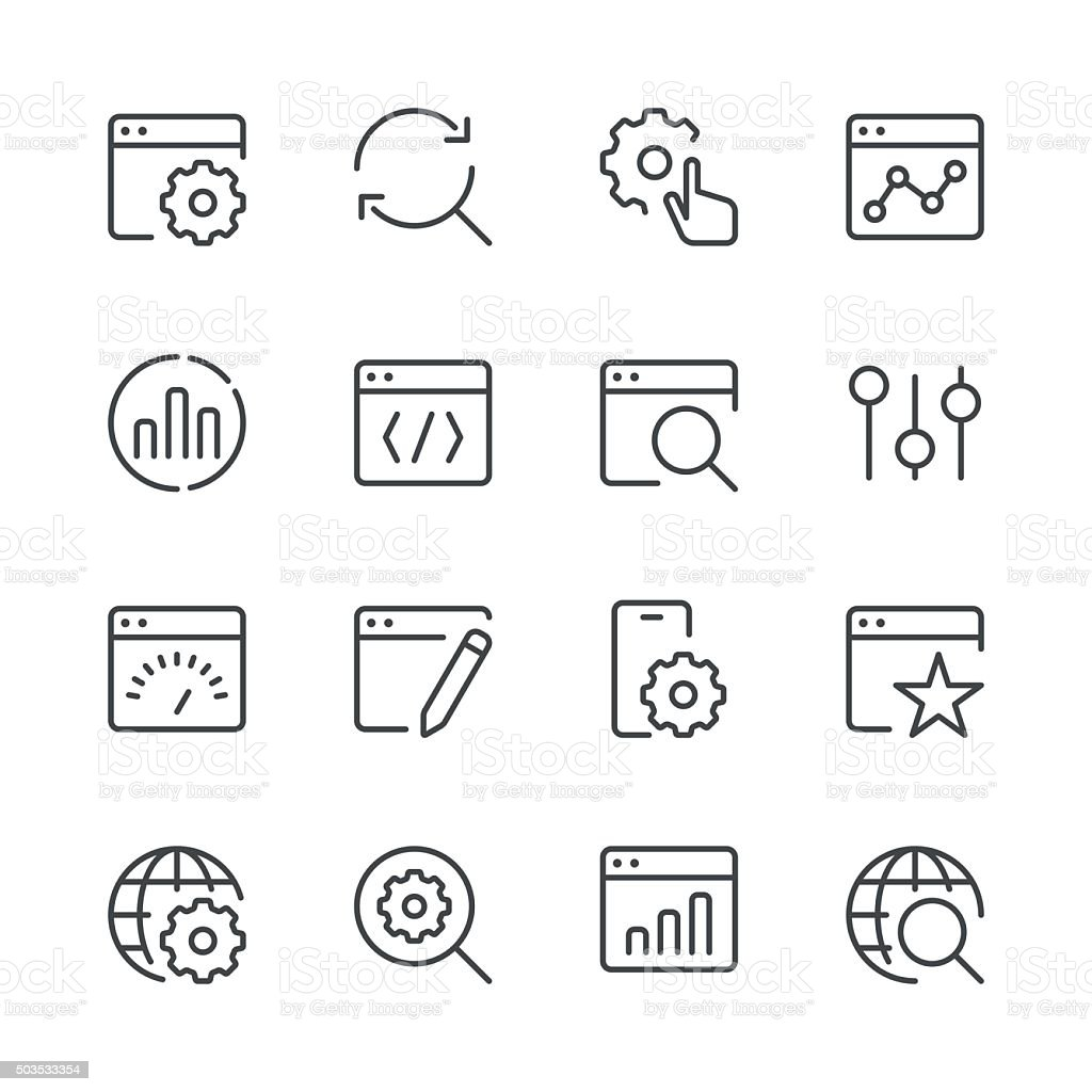 Search Engine Optimization icons set 1 | Black Line series vector art illustration