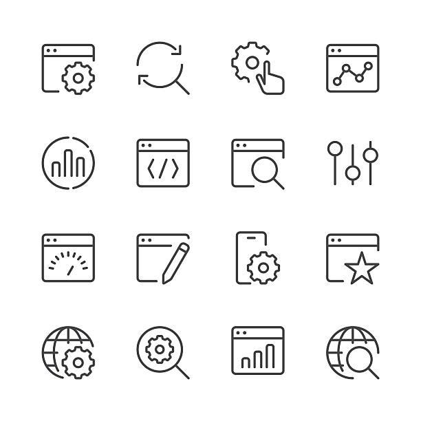 suchmaschinenoptimierung icons set 1/schwarz-serie - webdesigner grafiken stock-grafiken, -clipart, -cartoons und -symbole