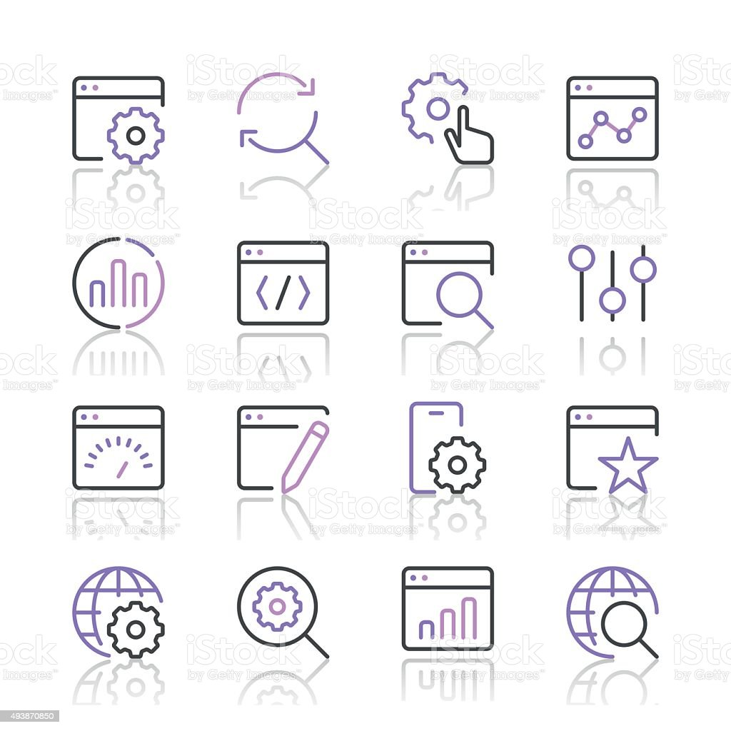 Search Engine Optimization icons set 1 | Purple Line series vector art illustration