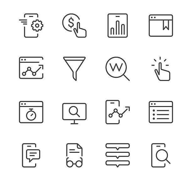 suchmaschinenoptimierung-icons set 2/schwarz-serie - webdesigner grafiken stock-grafiken, -clipart, -cartoons und -symbole