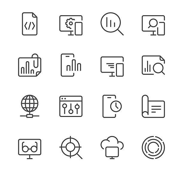 suchmaschinenoptimierung-icons set 3/schwarz line serie - webdesigner grafiken stock-grafiken, -clipart, -cartoons und -symbole
