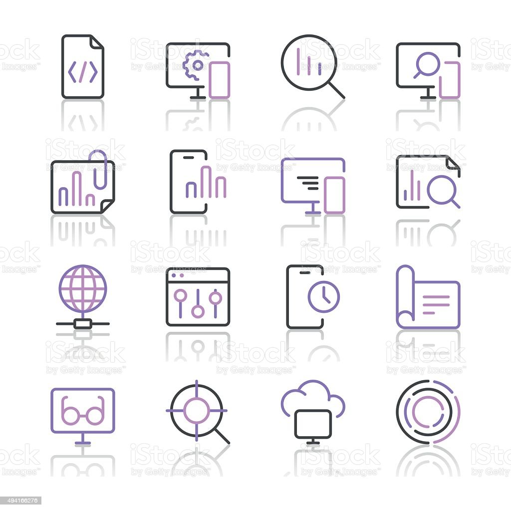 Search Engine Optimization icons set 3 | Purple Line series vector art illustration