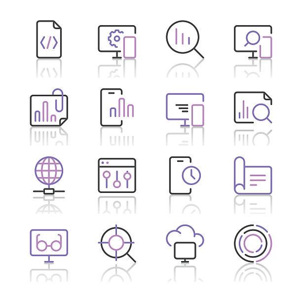 suchmaschinenoptimierung-icons set 3/violette linie series - webdesigner grafiken stock-grafiken, -clipart, -cartoons und -symbole