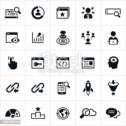 Search Engine Optimization and Search Engine Marketing Icons. The icons represent common symbols used in the industry. They include computers, web sites, web search, optimization, data, targeting and linking among others.