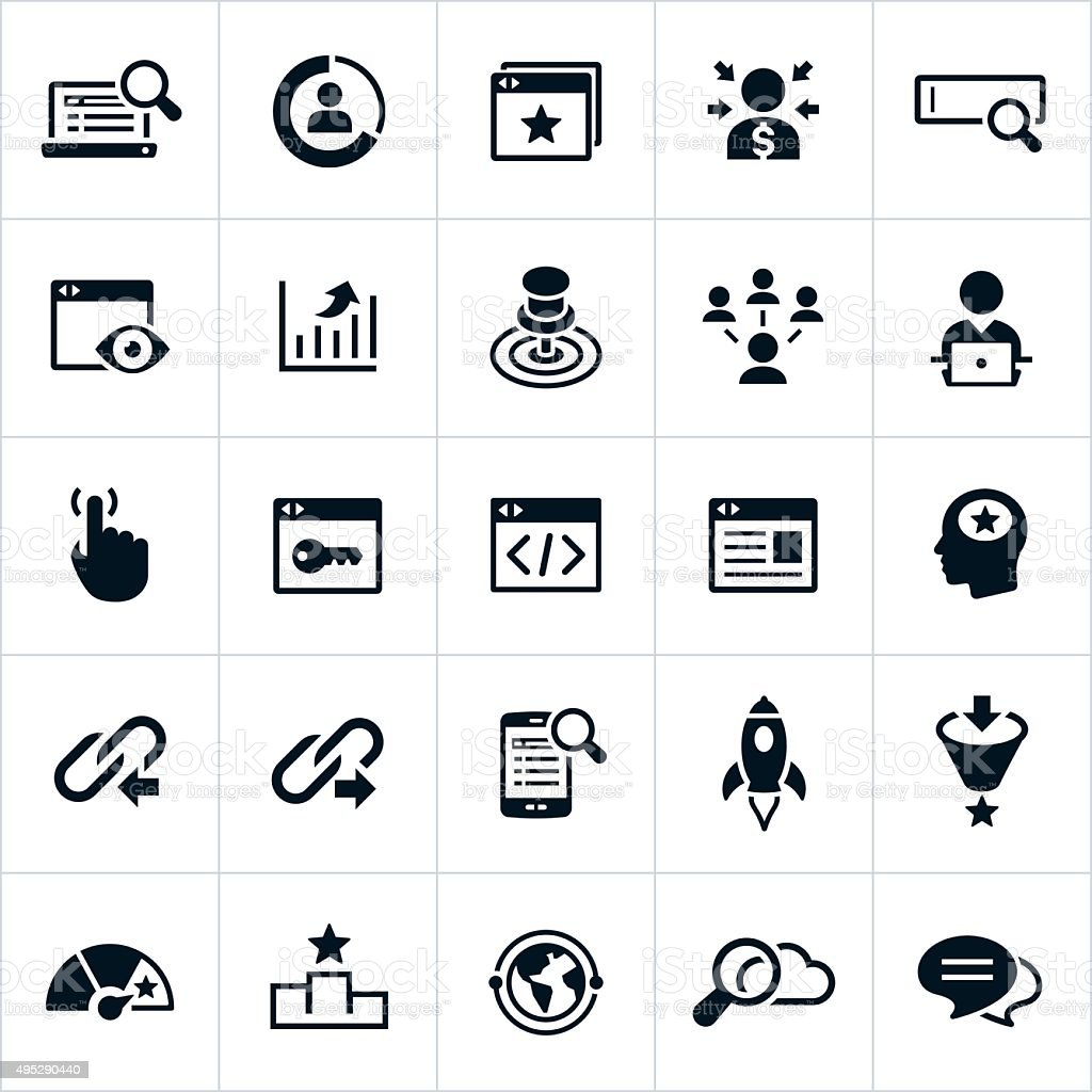 Search Engine Optimization Icons vector art illustration