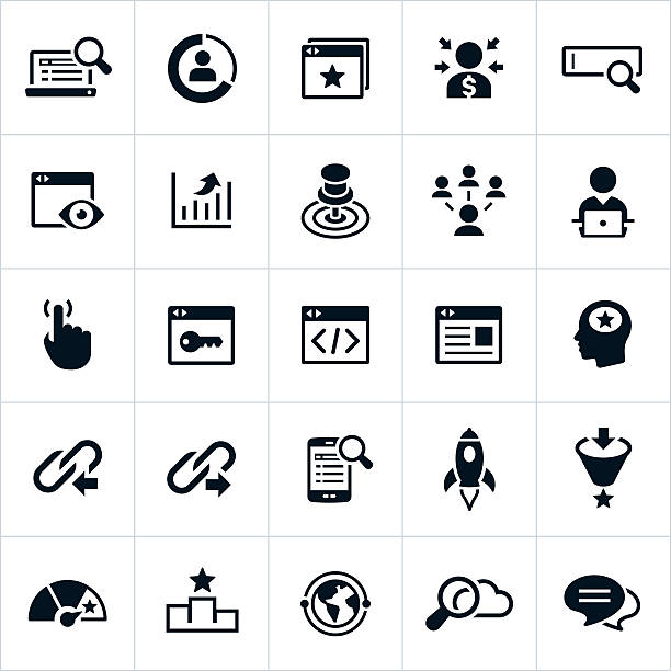 Search Engine Optimization Icons Search Engine Optimization and Search Engine Marketing Icons. The icons represent common symbols used in the industry. They include computers, web sites, web search, optimization, data, targeting and linking among others. sem stock illustrations