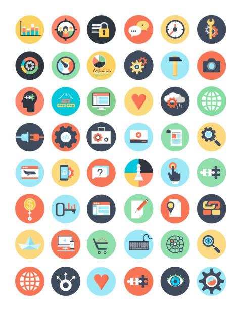 illustrazioni stock, clip art, cartoni animati e icone di tendenza di search engine optimization internet marketing icons - focus group