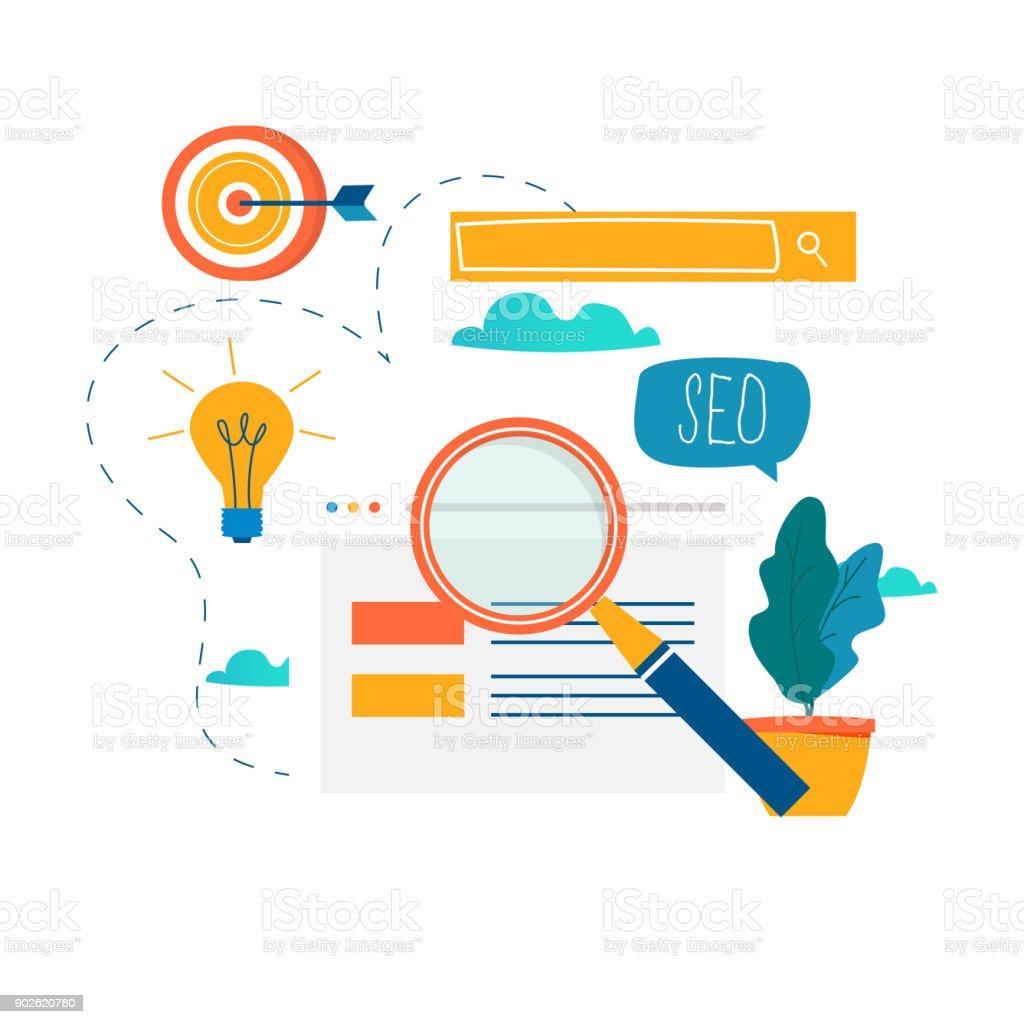 SEO, search engine optimization, keyword research, market research flat vector illustration vector art illustration