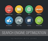 Search Engine Optimization keywords with icons