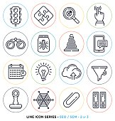 Search engine optimization line icons