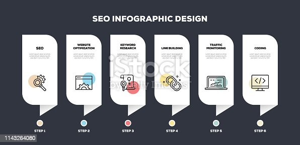 Search Engine Optimization Related Line Infographic Design