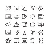 Search Engine Optimization Related Vector Line Icons