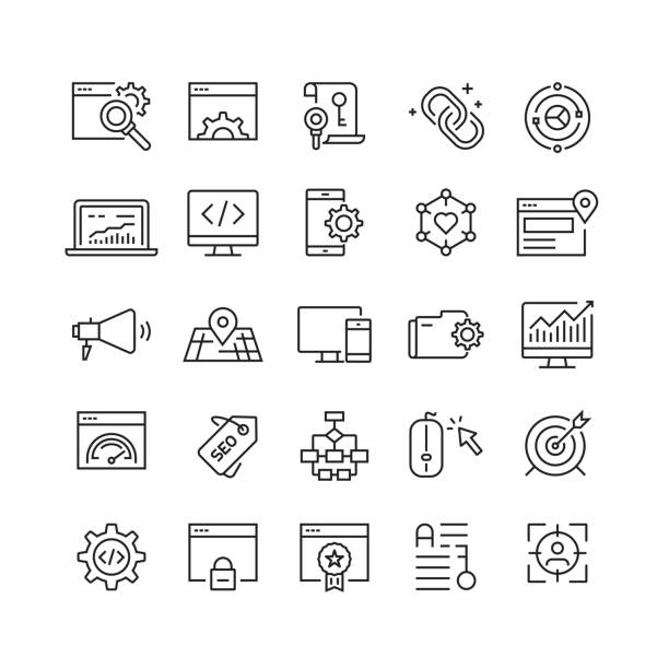 search engine optimization related vector line icons - algorithm stock illustrations