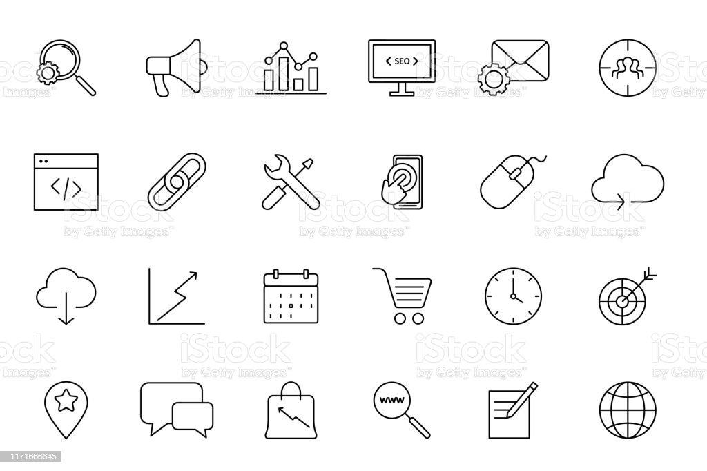 Search Engine Optimization. Set of Vector SEO Optimisation Icons. Set...
