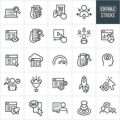Search Engine Optimization Thin Line Icons - Editable Stroke