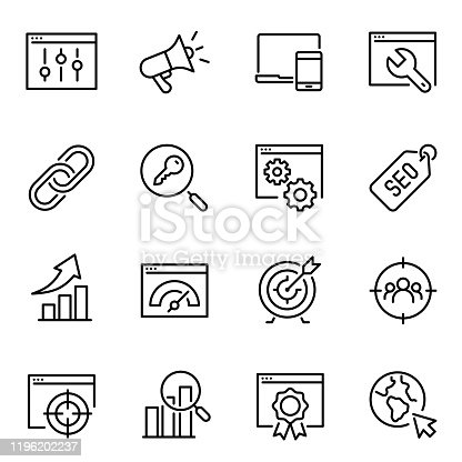 Search engine optimization thin line icons set. SEO and targeting tools linear symbols pack. Keywords selection, traffic boosting and link building contour pictograms isolated on white background