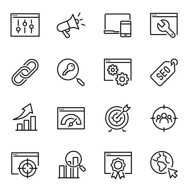 Search engine optimization thin line icons set vector art illustration