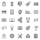 Search Engine Optimization Thin Line Outline Icon Set