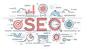 SEO Search engine otimization thin line concept. Vector illustration. Editable stroke.