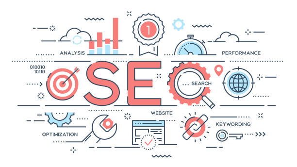 seo search engine otimization thin line concept. - seo stock illustrations, clip art, cartoons, & icons