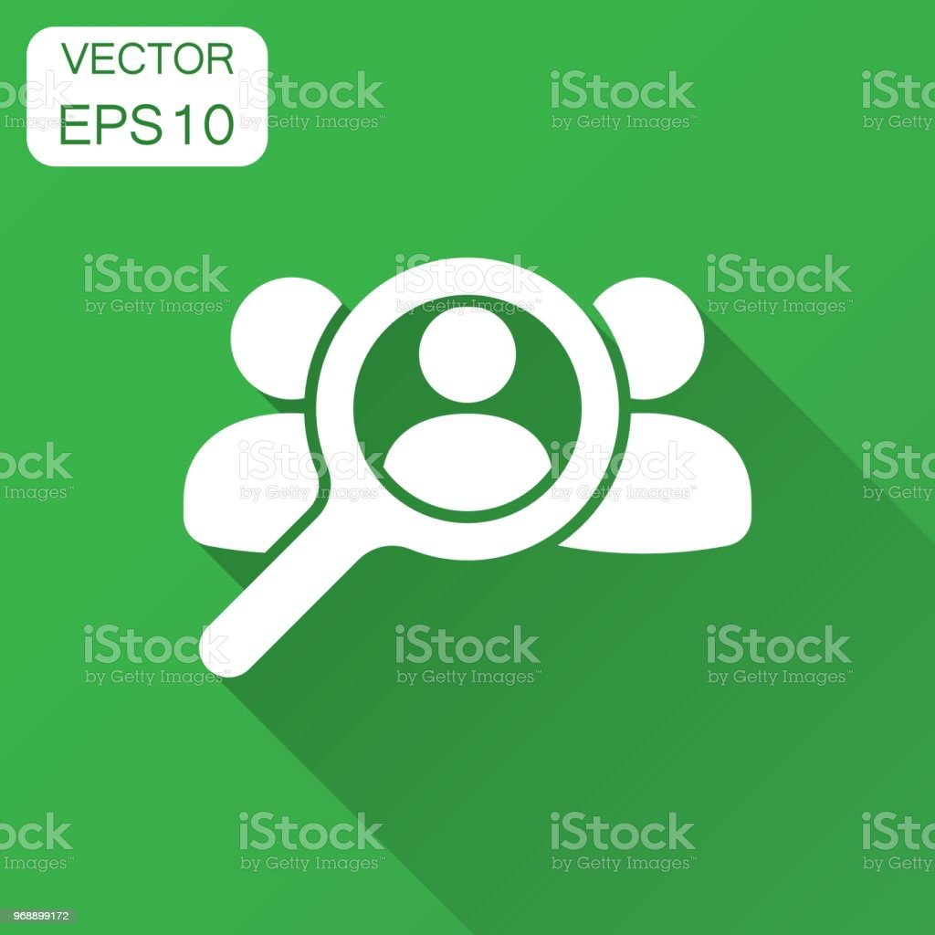 Amazing Search For Employees And Job, Business, Human Resource Icon In Flat Style.  Search