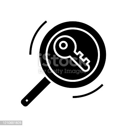 Search for solution black icon, concept illustration, glyph symbol, vector flat sign.
