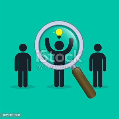 istock Search for talent with idea. Looking for employees, human resource. Vector 1022121838