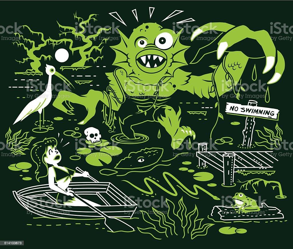 Search for the Swamp Monster vector art illustration