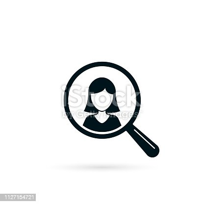 istock Search for woman resource icon. Looking for employee worker. Search female vector icon. Magnifying glass with girl 1127154721