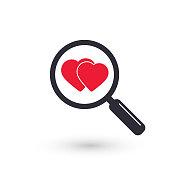 Search heart love icon, vector.