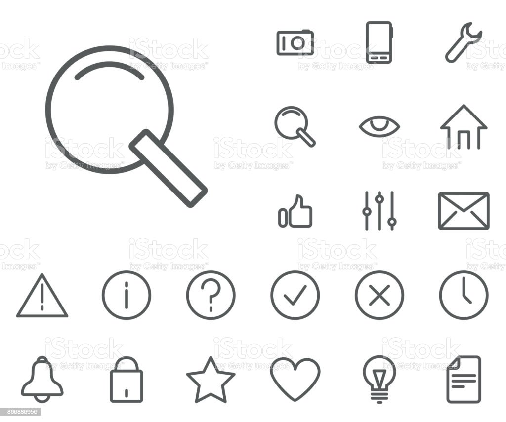 Search icon in set on the white background. Universal linear icons to use in web and mobile app. vector art illustration