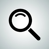 Search icon of magnifier. Vector symbol for internet search engine or web browser design