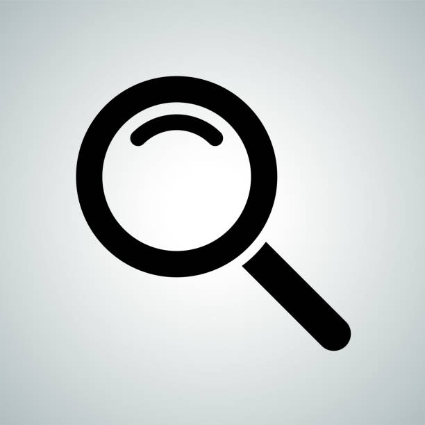 Search icon of magnifier. Vector symbol for internet search engine or web browser design Search icon of magnifier. Vector symbol for internet search engine or web browser design microscopic image stock illustrations