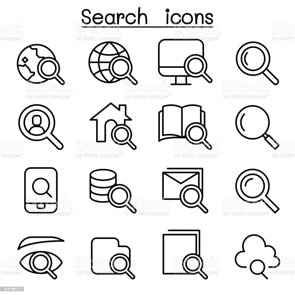 Search icon set in thin line style vector art illustration