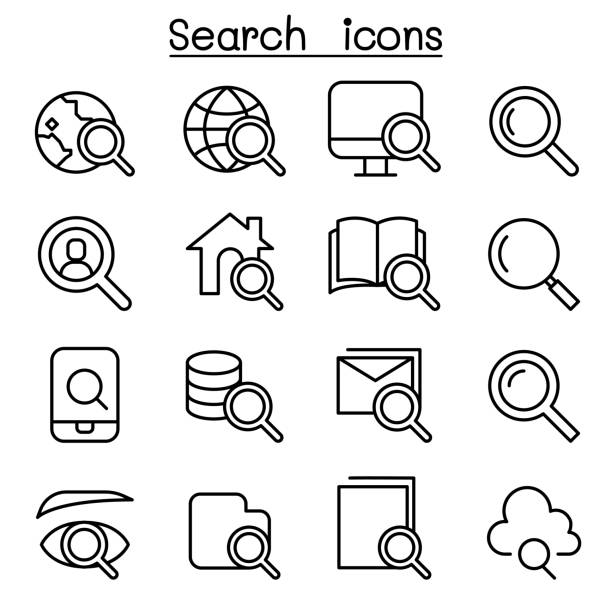 search icon set in thin line style - искать stock illustrations